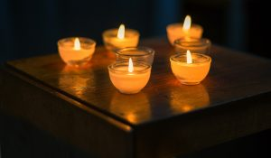 five orange candles