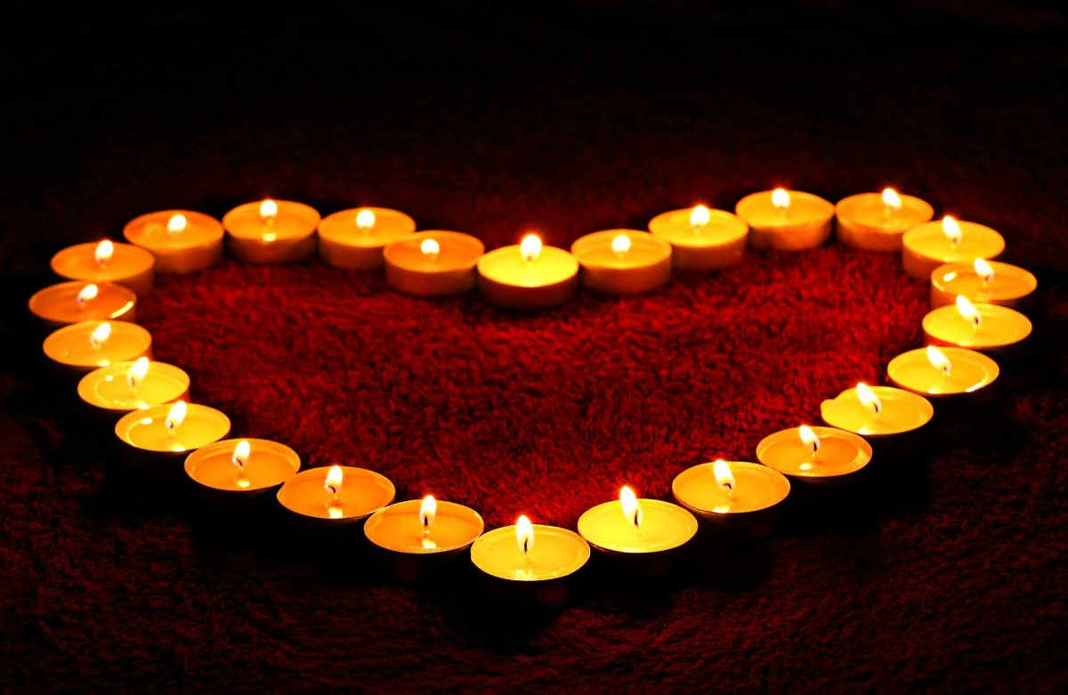 tea lights heart shape