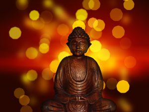 buddha against fire background